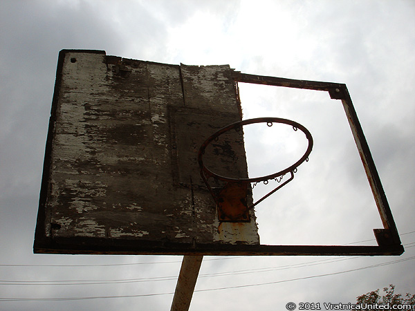 Broken basketball backboard at 'Simche Nastovski' sports fields