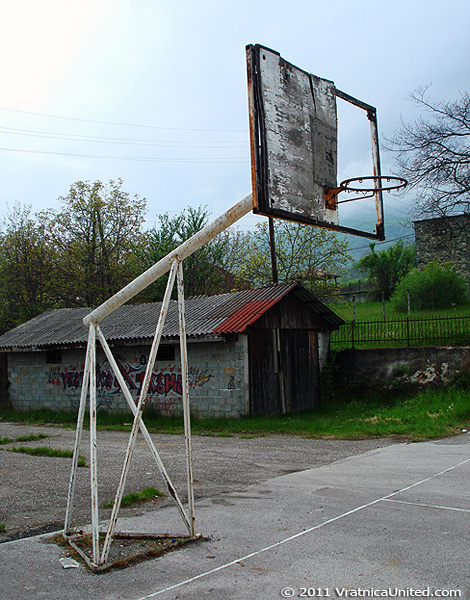 Part of the basketball court at the sports fields