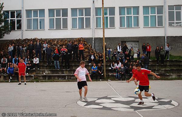 Scene from the football game: 'Tigar (Beloviste) vs Odri