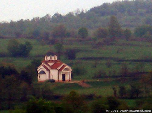 Monastery at Chestodubje, below Vratnica, as seen from 'Simche Nastovski' sports fields