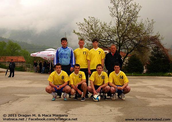 Vratnica football team at 'VRATNICA 2011' Traditional Mayday Sports Tournament (upper row: Nenad N., Borche, Nenad J., Ljupcho; lower row: Antonio, Daniel, Aleksandar, Bojan)