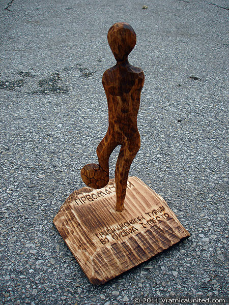 One of the prizes: Wood carving work - football player (made at 'High Hills' studio (www.WoodCarvingMacedonia.com))