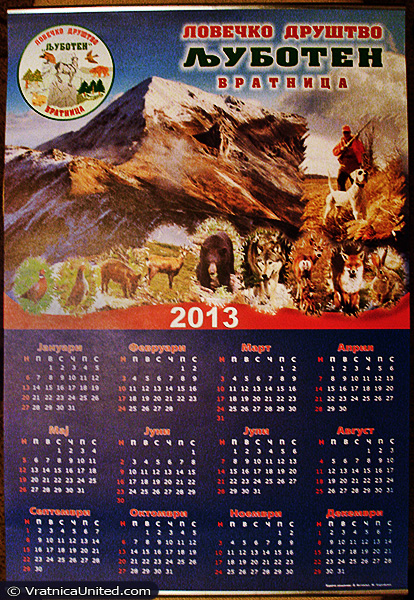 Calendar 2013 of 'Ljuboten' Hunting Association (Vratnica)